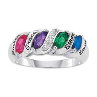 925 Sterling Silver Simulated Birthstone Cz Family Songs Of Life Ring Size 8