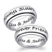 Always Sisters Forever Friends Spinner Band In 925 Sterling Silver Size 8 Ring