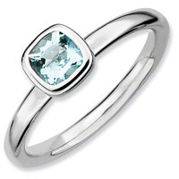 Stackable Expressions Cushion Cut Aquamarine Ring In Sterling Silver