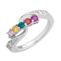 Mother S Birthstone And Diamond Accent Family Wave Ring In Sterling Silver 2 5 Stones