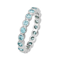 Stackable Expressions Bezel Set Large Blue Topaz Eternity Ring In Sterling Silver