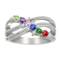 Mother S Mom S Birthstone Diamond Accent Ring 925 Sterling Silver Size 8