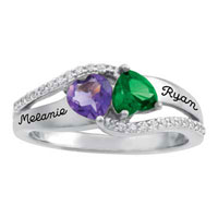 925 Sterling Silver Personalized Mothers Mom Birthstone Cz Tenderness Ring Size 8