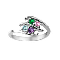 Mother S Mom Personalized Birthstone Double Row Bypass Ring Sterling Silver Size 8