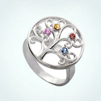 Tree Of Life Rings 4 Personalized Birthstone 925 Sterling Silver Size 8