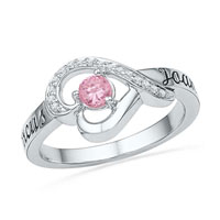 Lab Created Pink Sapphire Diamond Accent Heart Promise Ring Sterling Silver Size 8