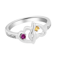 Couple S Entwined Hearts Simulated Birthstone Ring In Sterling Silver Size 8