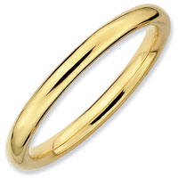 New Stackable Polished Ring In Sterling Silver And Gold Plate Size 8
