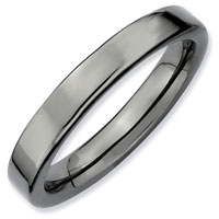 Stackable Flat Polished Ring In 925 Sterling Silver With Black Ruthenium Size 8
