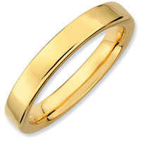 Stackable Flat Polished Ring In Sterling Silver And Gold Plate Size 8