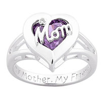 Mother Rings Personalized Birthstone Mom Heart Ring In 925 Sterling Silver Size 8