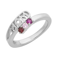 Mothers Ring Personalized Birthstone Mom Ring 925 Sterling Silver 10 K White Gold Plated Size 8
