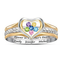 A Mother S Loving Heart Personalized Stacking Ring 18 K Gold P Double Banded Ring For Mom