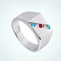 Mothers 5 Stones Mothers Day Xmas Gifts Wide Crystal Finger Rings Size 5