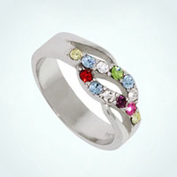 925 Sterlimng Silver Personalized Cz Birthstone Christmas Rings Size 8