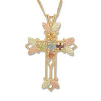 Black Hills Gold Cross Pendant In Sterling Silver Necklace Xmas Gift Sterling Silver Pendant