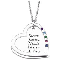 Mothers Simulated Birthstone Heart Pendant Necklace In Sterling Silver 1 5 Names And Stones 20 Sterling Silver Pendant