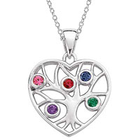 Family Tree Simulated Birthstone Heart Pendant Necklace In Sterling Silver 2 5 Stones Sterling Silver Pendant