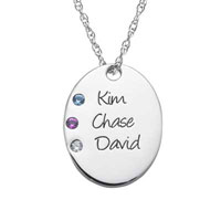 Sterling Silver Simulated Birthstone Oval Always Pendant Necklace 1 4 Names And Stones Sterling Silver Pendant