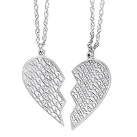 Double Broken Heart Personalized Carved Name Pendant In Sterling Silver 2 Names Sterling Silver Pendant