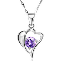Purple Heart Love Crystal Rhinestone Sterling Silver Chain Pendant Necklace Top Sterling Silver Pendant