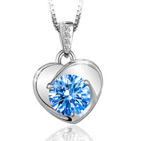 Womens Sterling Silver Necklace Blue Chain Amethyst Crystal Heart Pendant Gift Sterling Silver Pendant