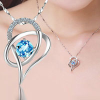 New Arrival 925 Sterling Silver Shiny Sweet Heart Lady S Blue Necklace Pendant