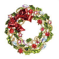 Christmas Wreath Of Red Ribbon Diamond Brooch Fashion Jewelry Cute Color Gifts