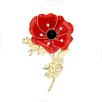 Large Poppy Flower Brooch Pin Red Enamel Gold Crystal Brooches For Women