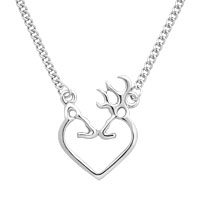 Heart Deer Silver Buck Necklace Pendants Sterling Silver Pendant