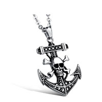 Vintage Jewelry Titanium Steel Jewelry Pirate Skull Anchor Chain Pendant Necklace