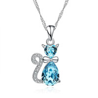 Blue Crystal Cartoon Lovely Beautiful Cat Sterling Silver Pandant Necklace Pendant
