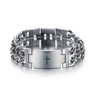 Fashion Mens Wide Cross 316 L Stainless Steel With Titanium Elements Bracelet