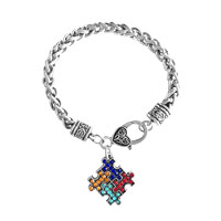 Autism Awareness Puzzle Jigsaw Classic Silver Plated Fashion Square Crystal Charm Bracelet
