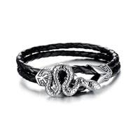 Titanium Steel Orochi Black Men S Weaving Cortical Bracelet