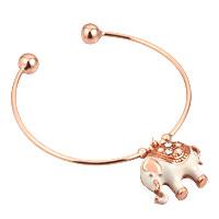 Red Elephant Lucky White Rhinestones Rose Gold Opening Alloy Bracelet