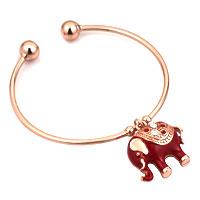 Rose Pink Elephant Lucky White Rhinestones Rose Gold Opening Alloy Bracelet