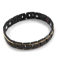 Black Gold Simple Vogue Titanium Steel Health Energy Bracelet For Gentleman