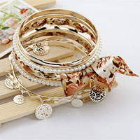 Yellow Multi Strands Mixed Rhinestone Pearl Bangle Bracelets Sets