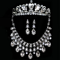 Wedding Jewelry Set Silver Cz Rhinestone Crystal Necklace Earring Crown Set Pendant