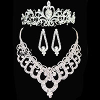 Wedding Bridal Necklace Earring Crown Sets Clear Crystal Rhinestone Jewelry New