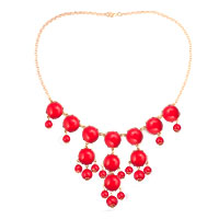 Red Fashion Bubble Gold Chain Rhinestone Chunky Bib Statement Necklaces Pendant