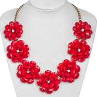 Red Rose Floral Flower Gold Chain Necklace Rhinestone Beads Bib Statement Pendant
