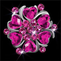Women Pink Heart Crystal Rhinestone Brooch Silver Floral Flower Brooches Pin