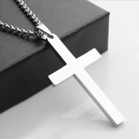 Silver Cremation Jewelry Necklace Cross Keepsake Memorial Pendant Mens Cross