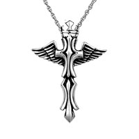 Open Angel Wings Cross Silver Cremation Jewelry Keepsake Necklace Pendantmen