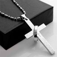 Cremation Jewelry Necklace Cross Silver Crucifix Memorial Keepsake Funeral Pendant