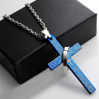 Cremation Jewelry Necklace Cross Blue Crucifix Memorialfuneral Pendant Cross