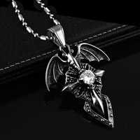 Angel Wings Cross Cremation Keepsake White Crystal Jewelry Necklace Pendant
