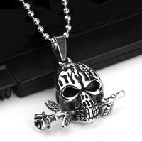New Men S Black Silver Stainless Steel Skull Rose Pendant Necklace Womens